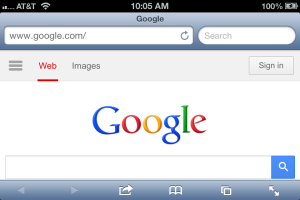 Screenshot of Safari in iOS 6 in horizontal orientation